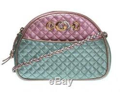 New Gucci Trapuntata Crossbody bag Quilted Metallic Green Pink bronze Bag