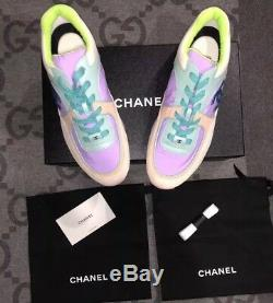 New In Box Chanel 19c CC Logo Green Purple Pink Suede Lace Up Sneakers Sz 11 42