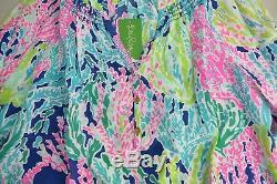 New Lilly Pulitzer Elsa Silk Top Blouse Indigo Cha Cha Pink Navy Green XS S L XL