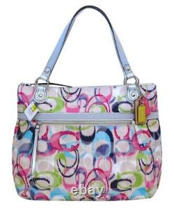 New NWT Coach Poppy Signature IKAT Ivory Pink Blue Green Glam Tote Purse 19876