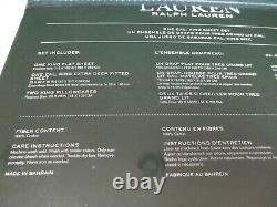 New Ralph Lauren Cotton 4pc White Pink Blue Green Floral Sheet Set Cal King