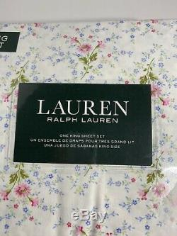 New Ralph Lauren Cotton 4pc White Pink Blue Green Floral Sheet Set KING