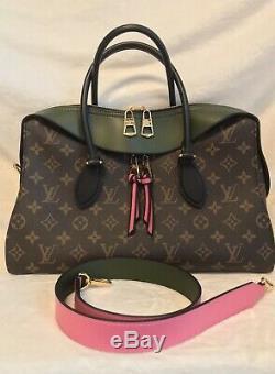 New, Rare Color, Louis Vuitton Tuileries Monogram Handbag, Pink & Olive Green