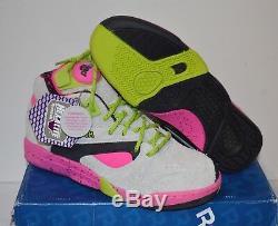 New Reebok Court Victory Pump X Extra Butter Grey/Pink/Green/Black sz 8 RARE
