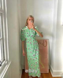 New Rixo Gwen Gingham Rose Green Pink Dress Size L XL