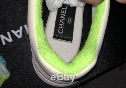New With Box Chanel 19c CC Logo Green Purple Pink Suede Lace Up Sneakers Sz 7 38