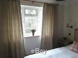 New hand made pair curtains in Susie Watson Pink Green Bloomsbury Linen fabric