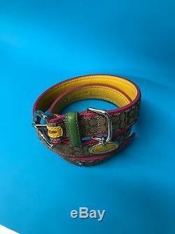 Nib Coach XL Mini Signature Dog Collar Khaki Pink Yellow Green Silver