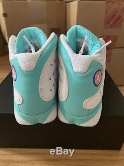 Nike Air Jordan 13 Aurora Green Gs Size 6.5y White Soar Pink
