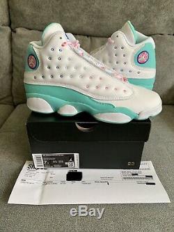 Nike Air Jordan 13 Retro GS Soar Green Pink White Size 7Y WithReceipt 439358-100