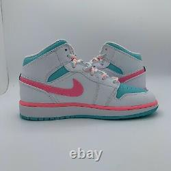 Nike Air Jordan 1 Mid Digital Pink Green White GS Size 4-5.5 555112-102 New