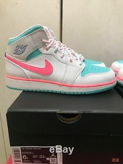 Nike Air Jordan 1 Mid GS White Digital Pink Aurora Green Sizes 5.5 / 6 / 6.5 / 7