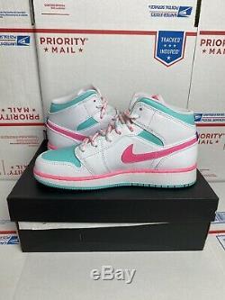 Nike Air Jordan 1 Mid Size 5.5Y (Womens 7) White Pink Green Solar 555112-102
