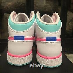 Nike Air Jordan 1 Mid South Beach GS Size 5Y-7Y 555112-102 White Pink Soar Green