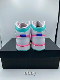 Nike Air Jordan 1 Mid White Pink Green Soar (GS) 555112-102 FREE SHIPPING