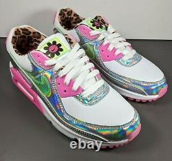 Nike Air Max 90 Sneakers Women Size 9 Laser Fuchsia Illusion Green White Pink