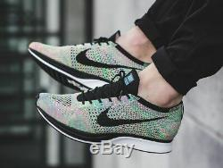 Nike Flyknit Racer MULTICOLOR 2.0 RAINBOW GREEN PINK OREO TRAINER 526628-304