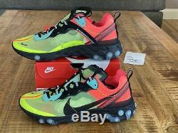 Nike React Element 87 Volt Aurora Green Pink AQ1090 700 Men's Size 10.5 NEW