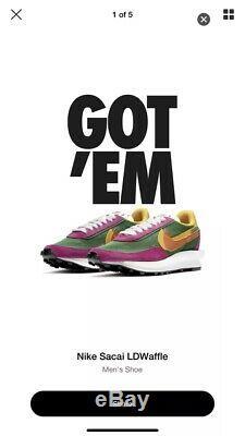 Nike X Sacai LD Waffle Forest Green & Pink UK 7