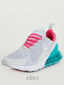 Nike air max 270 Pink Green Grey White UK 7 Worn Once Unboxed Trainers RRP £115