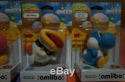 Nintendo Yoshi's Woolly World AMIIBO SET of 4. Poochy, Blue, Pink & Green! NEW