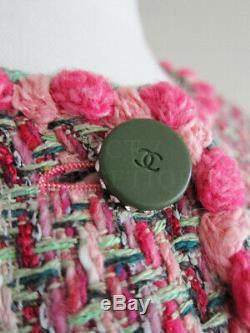Nwot 02p Pink White Green Tweed 4 Pocket Classic Jacket Fr40