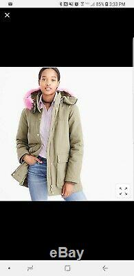 Nwt J. Crew Collection Hooded Parka Coat $495 Pink Fur M Wasabi Green F6993