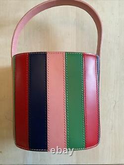 Nwt Staud Bissett Bucket Bag Leather Green Blue Red Pink Striped Bloggers It Bag