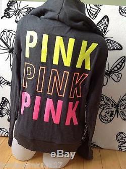 Nwt Victoria's Secret Pink Gray Sequin Bling Neon Limited Green Orange Zip L
