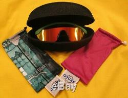 Oakley Razor Blades Green Frame W Fire Lens & Pink Straight Stems Sunglasses New