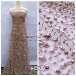 Off white/gray/pink/green 5 colors pearls dress lace fabric 51'' width by yard