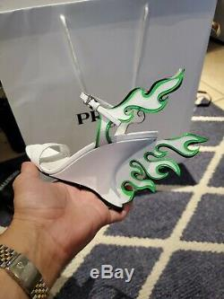 PRADA FLAME RUNWAY NEON PINK Green Bianco NIB IT 35/35.5 34/34.5 Hot Rod