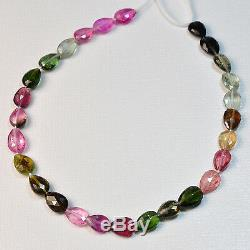 Pink Green Blue Yellow Tourmaline Faceted Pear Briolette Bead 8 Strand