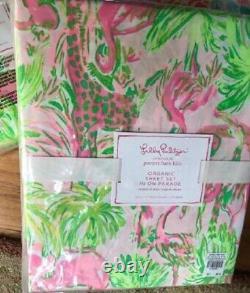 Pottery Barn Kids On Parade Full Sheet Set Pink Green Lilly Pulitzer Organic