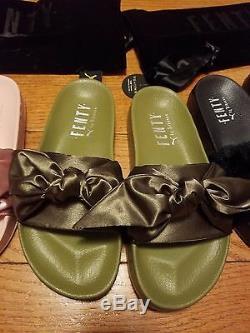 Puma x Rihanna Fenty Slides Olive green Pink Black Grey White Lead Slippers bow