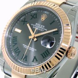 ROLEX 126331 DATEJUST 41 EVEROSE PINK GOLD 41 mm OYSTER SLATE GREEN ROMAN DIAL