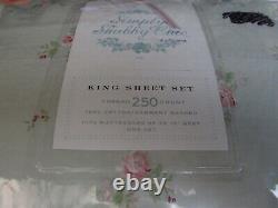 Rachel Ashwell Simply Shabby Chic Green Pink Rose Floral Sheet Set King