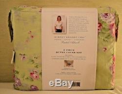 Rachel Ashwell Simply Shabby Chic Pink Green Bramble Rose Ruffle Duvet Set Twin