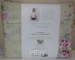 Rachel Ashwell Simply Shabby Chic Pink Roses Green Ruffle Duvet Cover Set Queen