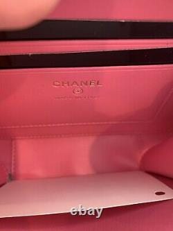 Rare CHANEL Clutch withChain Pink, Blue, Green NWT Caviar Leather Shoulder Bag