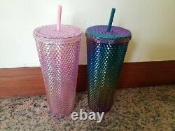 Rare Starbucks Singapore Exclusive Green Oil Slick & Pink Studded Cold Cups