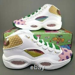 Reebok Question Mid x Candy Land Basketball Shoes Mens Size 12 White Green Pink