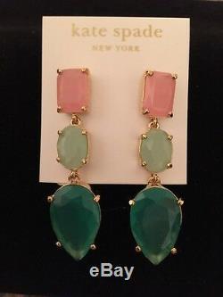 STUNNING KATE SPADE NEW YORK'GUMDROP GEMS' LINEAR DANGLE EARRINGS Pink / Green