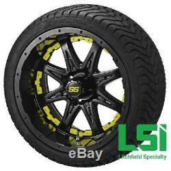 Set red blue yellow 14 Aluminum Alloy Golf Cart Car Rims Wheels & Tires Mounted
