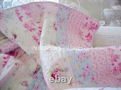 Shabby Beach Cottage Blue Pink Roses Chic Raspberry Toile Green Full Queen Quilt