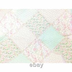 Shabby Chic Cottage Soft Shabby Pink Green Lace Lavender Lilac Ruffle Quilt Set