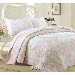 Shabby Chic Country Soft Shabby Pink Green Lace Lavender Lilac Ruffle Quilt Set
