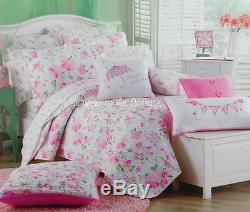 Shabby Pink Chic Rose Petals On White Aqua Green Queen Quilt Pillow Shams Set