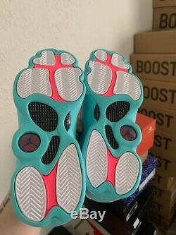Size 7Y Air Jordan 13 Retro GS White Soar Aurora Green Pink 439358-100
