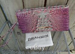 SoldOut Brahmin Kayla Clutch Wristlet Julep Leather Tassle Pink Green Purples